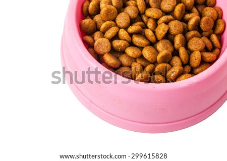 Pet Food in a Plastic Bowl, Everyday Feeding, Dog and Cat Daily Meal. Pet Diet Product. Isolated on White Background. - stock photo