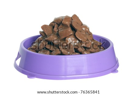 Pet food in the bowl. - stock photo