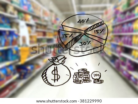pet food industrial , chart of market share business concept. - stock photo
