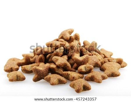 Pet food on a white background.