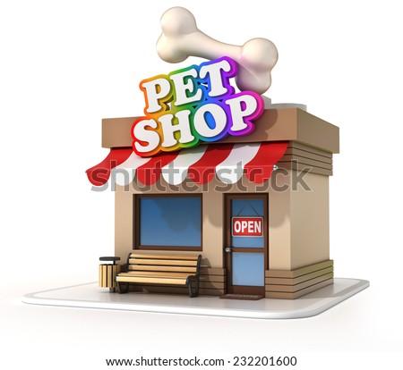 pet shop 3d illustration - stock photo