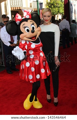 "Peta Murgatroyd and Minnie Mouse at ""The Lone Ranger"" Premiere, Disney's California Adventure, Anaheim, CA 06-22-13 - stock photo"