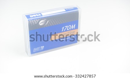 Petaling Jaya, Malaysia - Oct 28, 2015: Dell DAT 72 Data Tape Media Cartridge. DAT72 Digital Data Storage or DDS is a format for storing computer data derived from Digital Audio Tape or DAT.