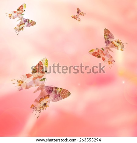 Petals blurry background with silhouettes of flower butterflies.Natural abstract background - stock photo