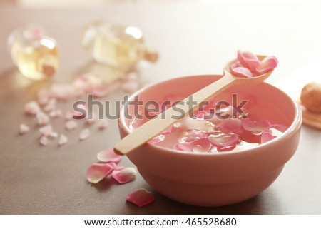 Petals in bowl, closeup