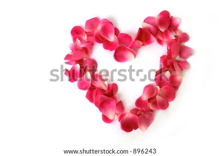 Petals shaped as a heart on white