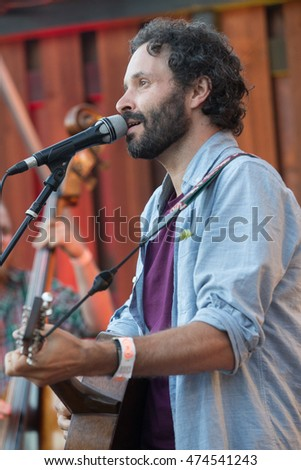 Petaluma, CA/USA - 8/15/16: Israel Nebeker of Blind Pilot performs at the Lagunitas Brewing Company's LaguMiniAmphitheaterette in Petaluma, CA.