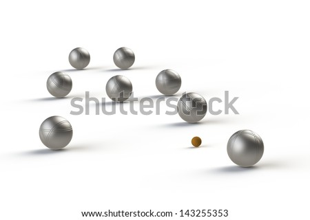 petanque balls and a small red jack in a white background