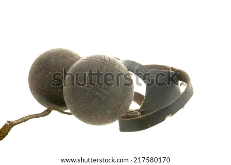 Petanque,boules old on white background - stock photo