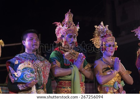 PETCHABURI, THAILAND - MARCH 22: Battle Presentation of traditional balinese Kecak Fire Dance and Thai Khon performances on MARCH 22, 2015 on PETCHABURI