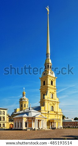 Peter and Paul Cathedral in Peter and Paul Fortress, Saint Petersburg, Russia. Petropavlovskaya Krepost. Zayachy Island (Hare Island).