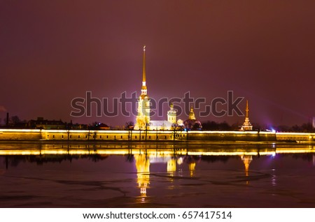 Peter and Paul Fortress at night in cloudy weather in St. Petersburg