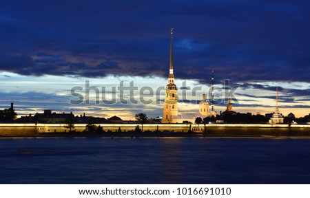 Peter and Paul's Fortress in Saint Petersburg, Russia, at night during the white nights season