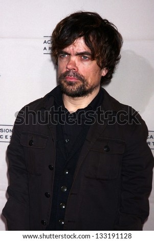 """Peter Dinklage at """"An Evening with The Game of Thrones"""" hosted by the Academy of Television Arts and Sciences, Chinese Theater, Hollywood, CA 03-19-13 - stock photo"""