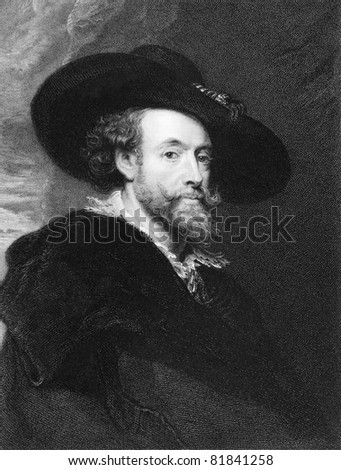 Peter Paul Rubens (1577-1640). Engraved by J.Pofselwhite and published in The Gallery Of Portraits With Memoirs encyclopedia, United Kingdom, 1837.