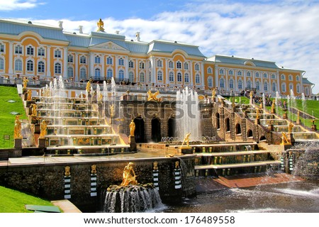 PETERGOF, RUSSIA - MAY 27, 2013: The Grand Cascade in Peterhof Palace. - stock photo