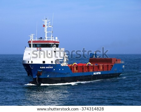 Peterhead, Scotland, 29th of May 2014, Abis Bremen cargo ship with open cargo hold capabilities for special cargo. - stock photo
