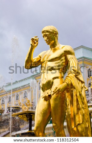 Peterhof Palace (Russian Versailles). Golden statue of Grand Cascade fountains Lower Park. Saint-Petersburg, Russia. UNESCO World Heritage Site. - stock photo