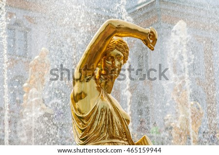 Peterhof Palace St Petersburg, Russia. Lower Park Grand Cascade fountain's Golden Statue. The Peterhof Palace included in the Unesco'S World Heritage list.