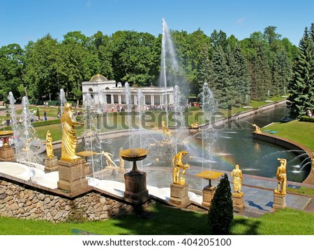 PETERHOF, RUSSIA - JUNE 11, 2008: A view of the Big cascade and the Voronikhinsky colonnade in Nizhny park