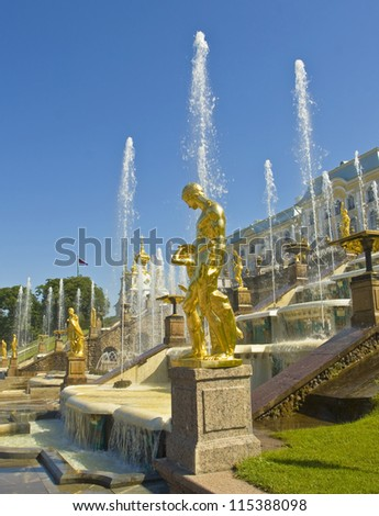 Peterhof, Russia: king's palace and fountain grand cascade, in surroundings of St. Petersburg. - stock photo
