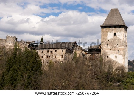 Petersberg Castle in medieval Friesach, the oldest town of Carinthia in Austria - stock photo