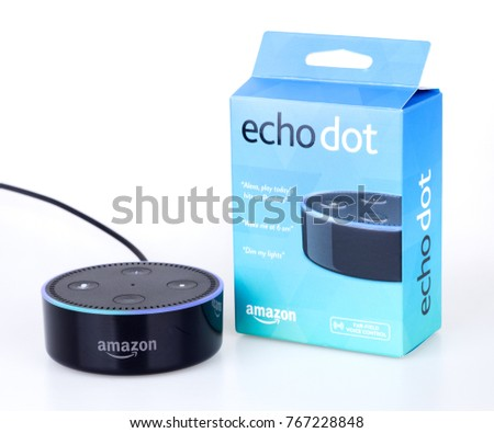 PETERSBURG, ILLINOIS/USA-DECEMBER 1, 2017: Amazon echo dot a handsfree voice controlled device that connects to the Alexa voice service