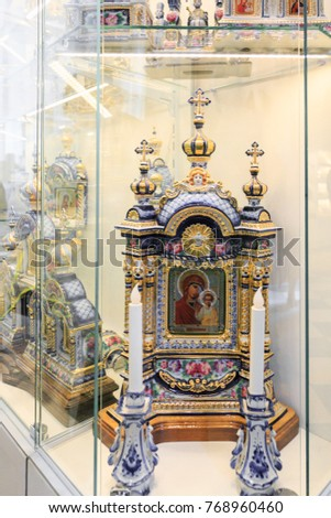 Petersburg, Russia - July 2, 2017: Souvenir showcase at the Peter and Paul Cathedral in the Peter and Paul Fortress