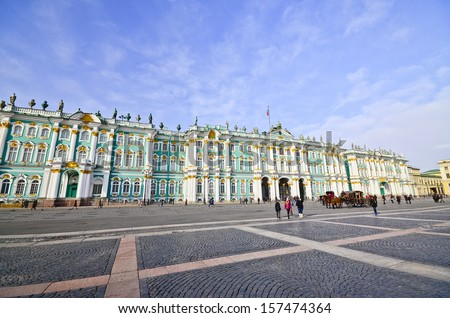 PETERSBURG, RUSSIA-MARCH 2: The Hermitage Museum on March 2, 2012 in Petersburg. The Hermitage Museum is the largest art gallery in Russia and is among the largest art museums in the world. - stock photo