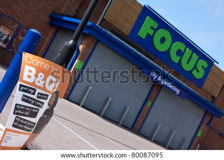PETERSFIELD, HAMPSHIRE - JUNE 26: A closed down Focus DIY store, after the company went into administration.  B&Q owner, Kingfisher, has bought 31 of the stores in Petersfield, Hampshire, England - June 26, 2011.