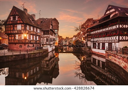 Petite France in Strasbourg at sunset. - stock photo