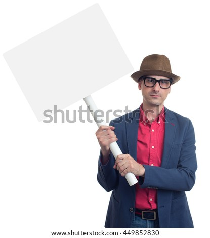 Petition concept. man with placard isolated on white - stock photo