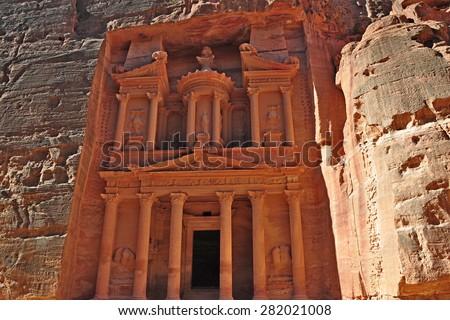 petra ancient city in jordan - stock photo