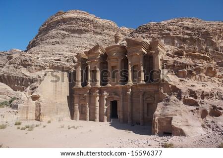 Petra in Jordan - the monastery - stock photo