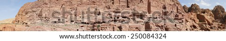 Petra, Jordan-- it is a symbol of Jordan, as well as Jordan's most-visited tourist attraction. Petra has been a UNESCO World Heritage Site since 1985 - stock photo