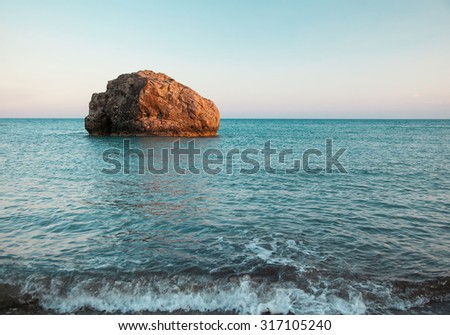 Petra tou Romiou (The rock of the Greek), Aphrodite's legendary birthplace in Paphos, Cyprus