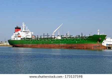 Petro-chemical tankers in Oso Bay in the Port of Corpus Christi, Texas, a large processor of petroleum for the oil and fuel industry - stock photo