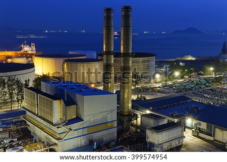 petrochemical industrial plant at night , Coal power station - stock photo