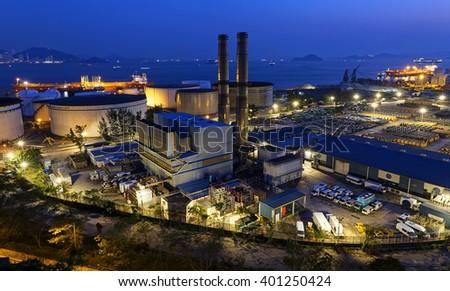 petrochemical industrial plant at night , Coal power station at Hong Kong - stock photo