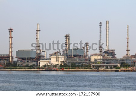 petrochemical industrial plant, Industrial background - stock photo