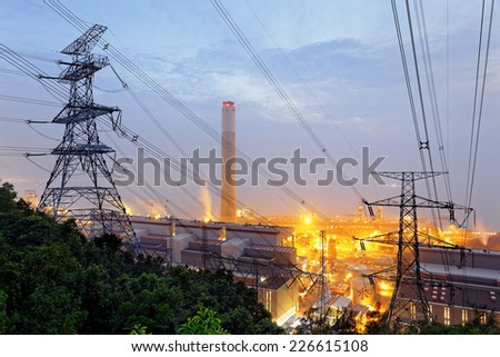petrochemical industrial power plant factory at night  - stock photo