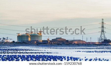 Petrochemical industry in the morning - stock photo
