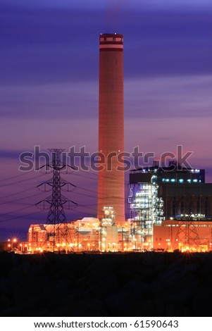 Petrochemical industry on sunset. - stock photo