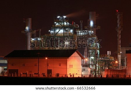 petrochemical oil refinery factory with storage tank and warehouse