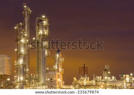 Petrochemical plant at dusk.