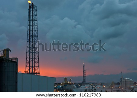 petrochemical plant at sunset