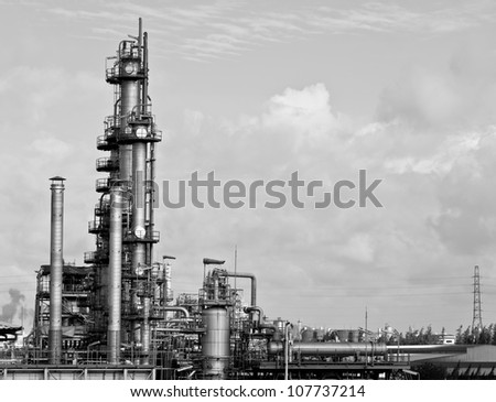 petrochemical plant (black & white) image - stock photo