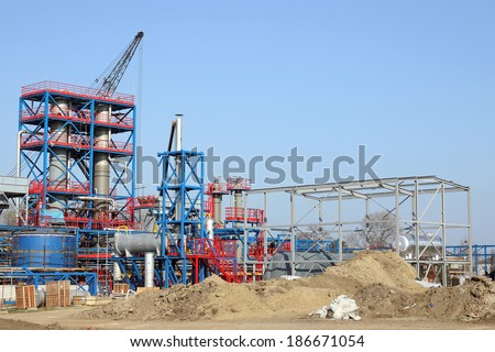 petrochemical plant heavy industry construction site - stock photo