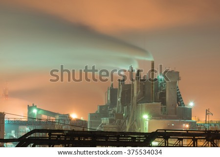 Petrochemical plant in night - stock photo