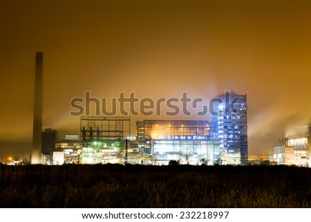 Petrochemical plant in night. Long exposure photography